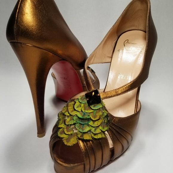 db0639d964 Christian Louboutin Shoes - RARE Christian Louboutin Peacock Peep Toe 40.5